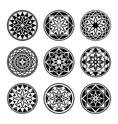 Mandala elements tattoo icon set star floral vector