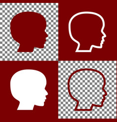 People head sign bordo and white icons vector