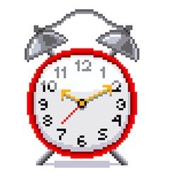 Pixel retro alarm clock isolated vector