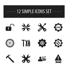 set of 12 editable tool icons includes symbols vector image vector image