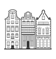 Set of 3 line style amsterdam old houses facades vector