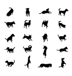 Set of dogs silhouettes vector