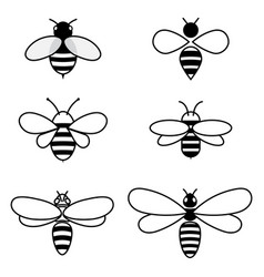 Set of stylized bees collection of logos vector