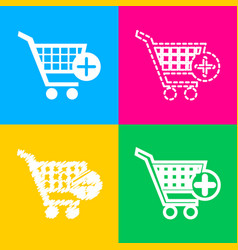 shopping cart with add mark sign four styles of vector image