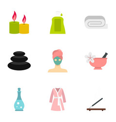 Spa icons set flat style vector