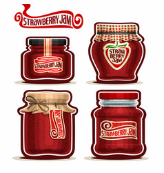 Strawberry jam in glass jars vector