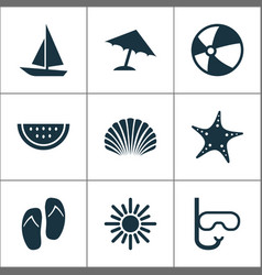 Sun icons set collection of tube bead parasol vector