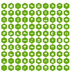 100 clouds icons hexagon green vector