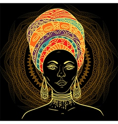 Beautiful african woman in turban vector