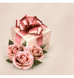 Holiday retro background with pink roses and gift vector
