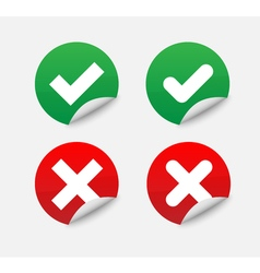 Green Check Mark and Red Cross in two variants vector image