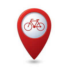 Map pointer with bicycle icon vector image