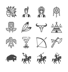American indian tribe icons vector