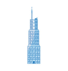 Building skyscraper commercial antenna blue line vector