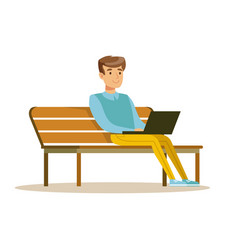 Young man sitting on a bench and working with vector