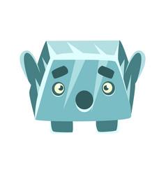 Cute blue surprised rock element cartoon emotions vector