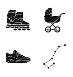 Rollers stroller and other web icon in black vector