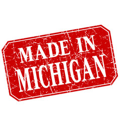 Made in michigan red square grunge stamp vector