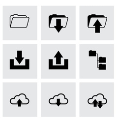 Black ftp icons set vector