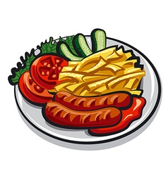 Sausages with fries vector