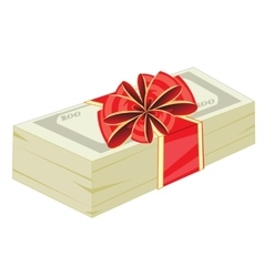 Money in gift to packing vector