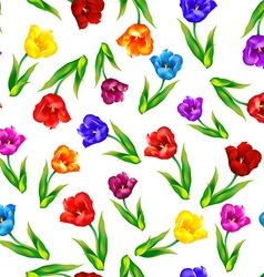 Tulip floral background seamless pattern vector