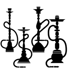 Set of Hookahs Silhouettes vector image