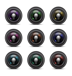 Colorful camera lens vector