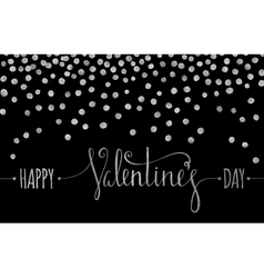 Silver textured Happy Valentines day inscription vector image