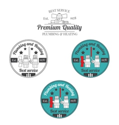 Set of plumbing and heating vintage labels outdoor vector
