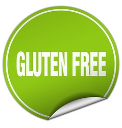 Gluten free round green sticker isolated on white vector