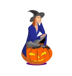 Witch sitting on a pumpkin on a white background vector image