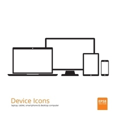 Smartphone Tablet Laptop and Desktop Computer vector image