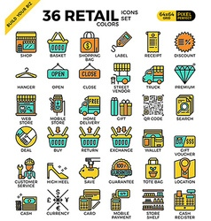 Retail store pixel perfect outline icons vector