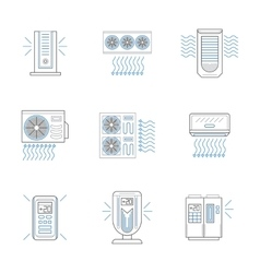 Air climate appliances flat line icons set vector