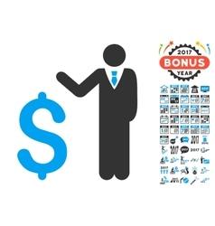 Banker icon with 2017 year bonus symbols vector