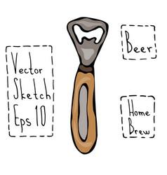 beer bottle opener doodle style sketch hand vector image