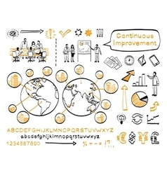 Business doodle set vector