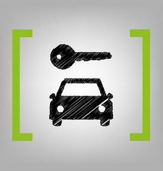 Car key simplistic sign black scribble vector