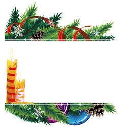 Christmas background with baubles pine cones and vector