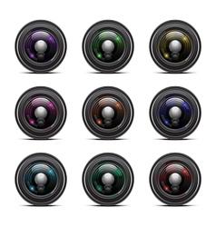 Colorful camera lens vector