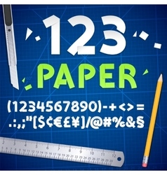 Cut out paper numbers and equipment set vector