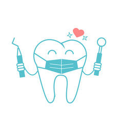 Dentist concept in the form of a tooth in a mask vector
