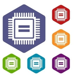 Electronic circuit board icons set vector image