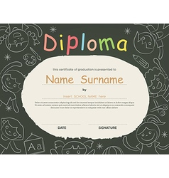 Elementary school Kids Diploma certificate vector image vector image