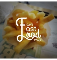 Fast food logo typography lettering on blurred vector