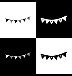 Holiday flags garlands sign black and vector