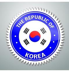 Korean flag label vector image vector image