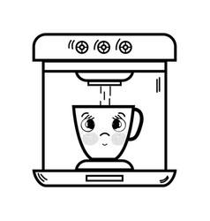 Line kawaii cute tender coffee maker technology vector