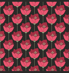 midnight red flowers seamless background vector image vector image
